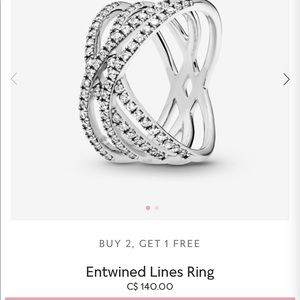 Pandora Entwined Lines Ring